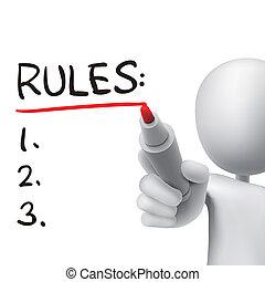 reglas, palabra, escrito, por, 3d, hombre