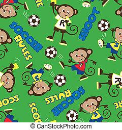 reglas, patrón, futbol, mono, seamless