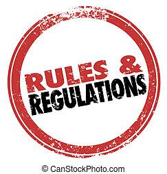 reglas, pautas, regulaciones, estampilla, tinta, seguir,...