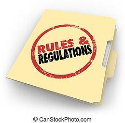 reglas, regulaciones, carpeta de papel de estraza,...