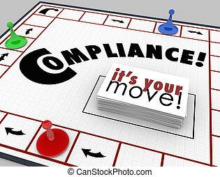 reglas, regulaciones, junta del partido, seguir, compilance...