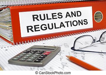 reglas, y, regulaciones