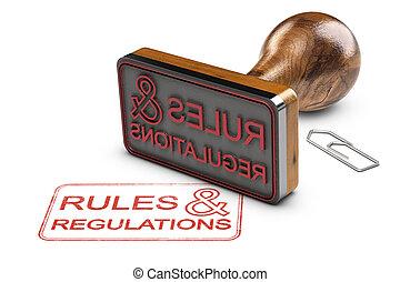 reglas, y, regulaciones, encima, fondo blanco