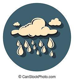 regn, ikon, skygge