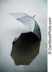 regn, og, våd, paraply