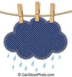 regn sky, klädstreck