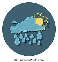regn, sol, ikon, cirkel, lejlighed