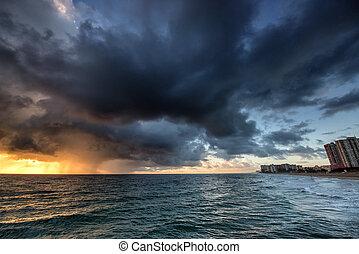 regna, över, ocean., soluppgång