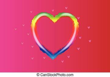 regnbåge, älska hjärta