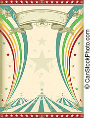 regnbåge, årgång, cirkus, affisch