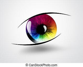 regnbåge, ögon