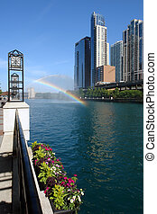 regnbåge, över, chicago flod