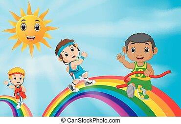 regnbåge, över, sport, spring, barn