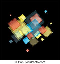 regnbåge, abstrakt, fyrkant