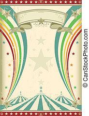regnbåge, cirkus, årgång, affisch