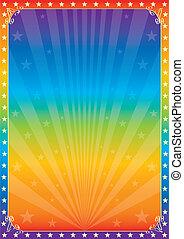 regnbåge, cirkus, stjärna