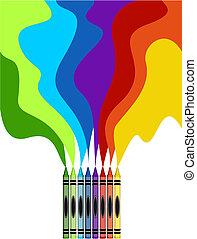 regnbåge, crayons, konst, färgad, stort, teckning