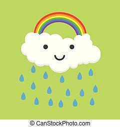 regnbåge, färg, illustration, vektor, rain., lycklig
