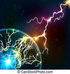 regnbåge färgar, lysande, kosmisk, plasma, blixt