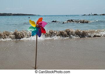 regnbåge, färgrik, kust, roterande, liten sol, strand