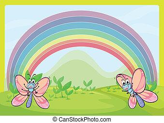 regnbåge, flugor