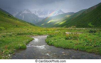 regnbåge, i fjällen, av, den, kaukasus