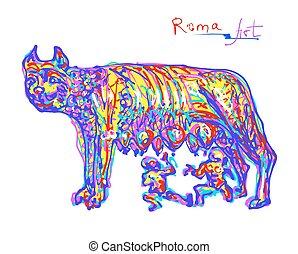 regnbåge, italien, original, färger, berömd, rom, plats, teckning