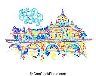 regnbåge, italien, teckning, färger, contemp, rom, plats, original
