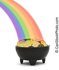 regnbåge, kruka, guld