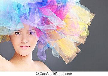 regnbåge, kvinna, hatt