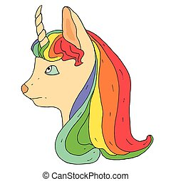 regnbåge, litet, imaginative, haircut., skönlitterär, enhörning, animal.