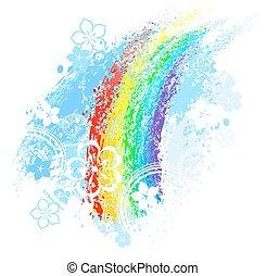 regnbåge, målad