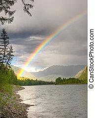 regnbåge, ovanför, flod