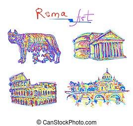 regnbåge, sätta, colo, italien, original, berömd, rom, plats, teckning