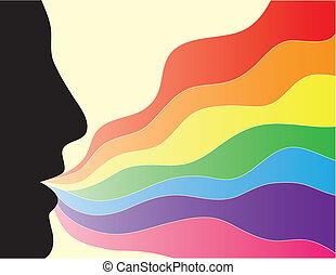 regnbåge, silhuett, ansikte