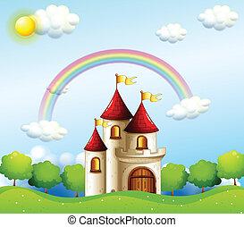 regnbåge, slott, nedanför