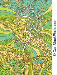 regnbåge, surrealistisk, träd, illustration, fantasi, vektor, life., psychedelic, art.