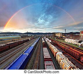 regnbåge, transport, frakt, genomresa,  -, Tåg, gods