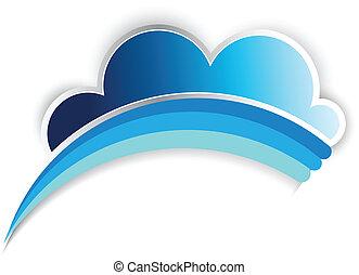 regnbåge, vektor, moln, logo