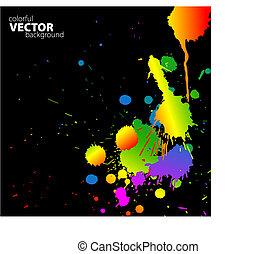 regnbåge, vektor, splats, bakgrund
