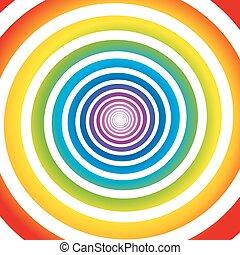 regnbåge, vit, spiral