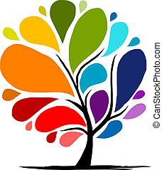regnbue, abstrakt, træ, din, konstruktion