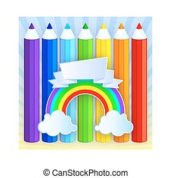 regnbue, blyanter, hos, sted, by, din, text., vektor, illustration