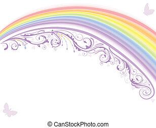regnbue, card, blomstrede