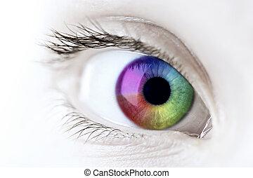 regnbue, closeup, øje