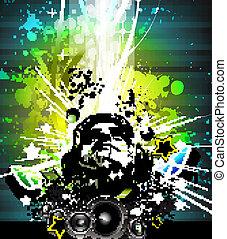 regnbue, dj., farverig, disco, farver, flyer