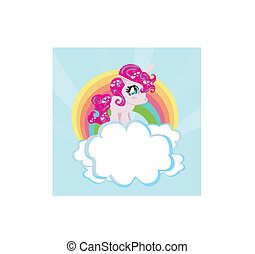 regnbue, enhjørning, card, cute, clouds.