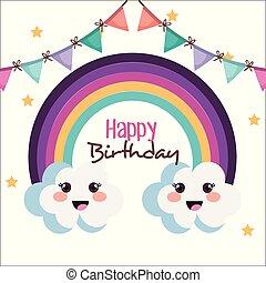 regnbue, fødselsdag, glade, card, cute