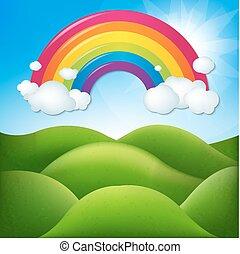 regnbue, fantastiske, landskab