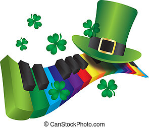 regnbue, farve, klaviatur, leprechaun, piano, hat